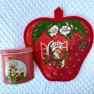 Vintage Strawberry Shortcake Potholder & Tin